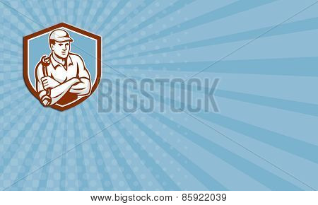 Business Card Mechanic Holding Spanner Arms Crossed Shield