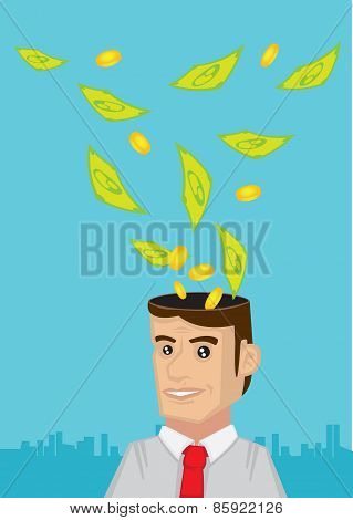 Man Thinking About Money Vector Illustration