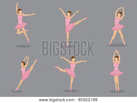 Pink Tutu Ballerina Vector Icon Set