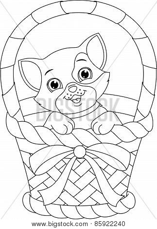 cat in a basket coloring page