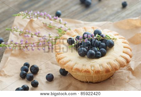 Cake Basket With Blueberries,selective Focus