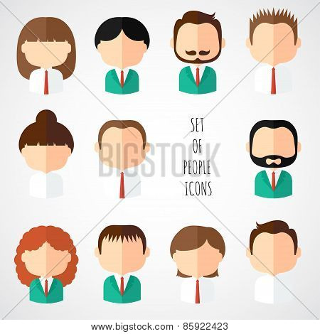 Set of colorful office people icons. Businessman. Businesswoman. Man. Woman. Trendy flat style. Funn