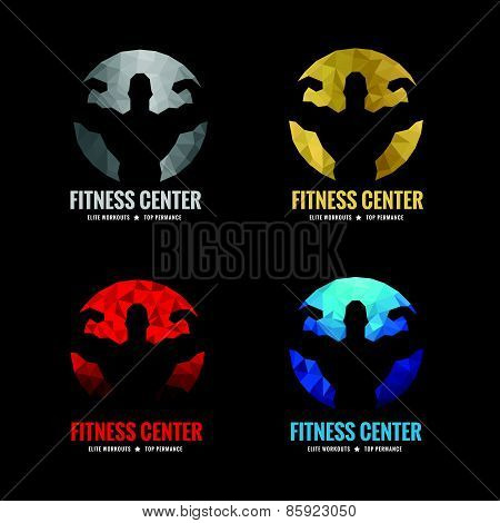 Fitness center logo low  4 color is silver gold red and blue