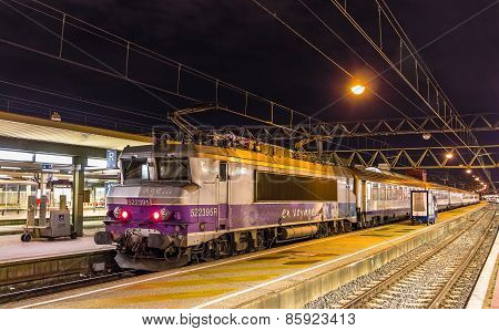 Lyon, France - January 07: Electric Locomotive With A Regional Train On January 7, 2014 At Lyon Part