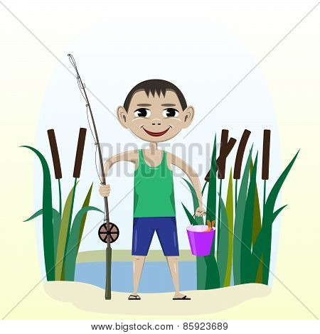 A boy with a fishing pole and fish