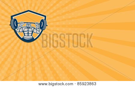 Business Card Knight Lifting Barbell Weights Shield Retro