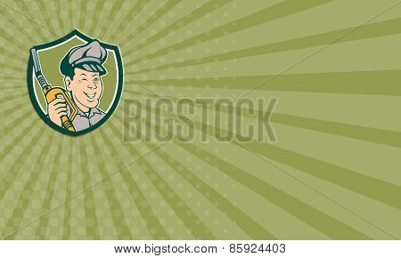 Business Card Gas Attendant Nozzle Winking Shield Cartoon