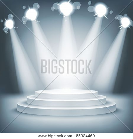Illuminated Stage Podium Award Ceremony Vector Illustration