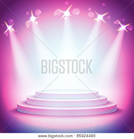 Background Lights Over Pedestal Your Business Product