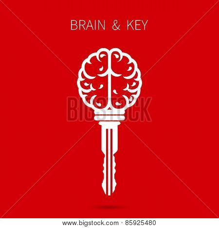 Creative Brain Sign With Key Symbol. Key Of Success. Business And Education Idea Concept.
