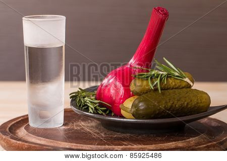 Shot Of Vodka With Pickles Cucumber And Garlic