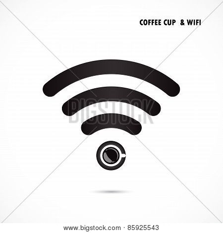 Hot Coffee Cup And Wifi Sign. Technology And Business Background.