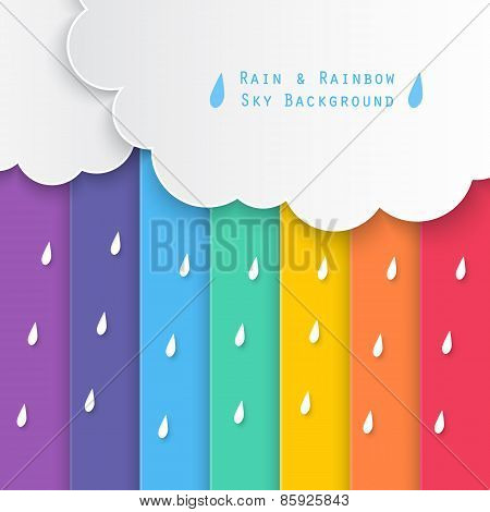 Rain And Rainbow Sky Background