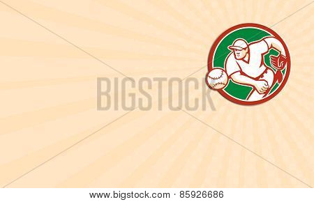 Business Card American Baseball Pitcher Throwing Ball Circle Retro