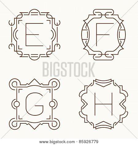 Vector mono line monograms. E, F, G,H.