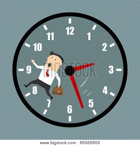 Businessman racing against the clock