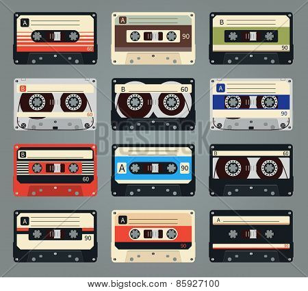 Set of vector retro audio cassettes
