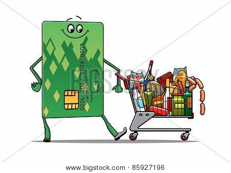 Credit card doing the grocery shopping