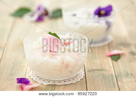Risotto With Edible Flowers.