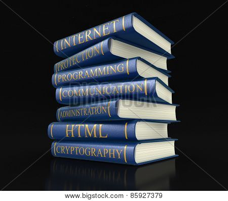 Stack of books on computer security (clipping path included)