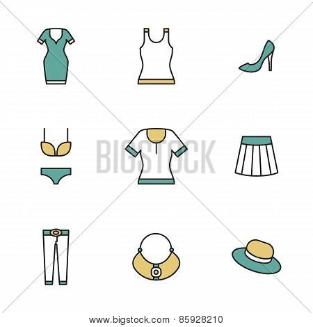 Clothing, garments and accessories icons flat linear