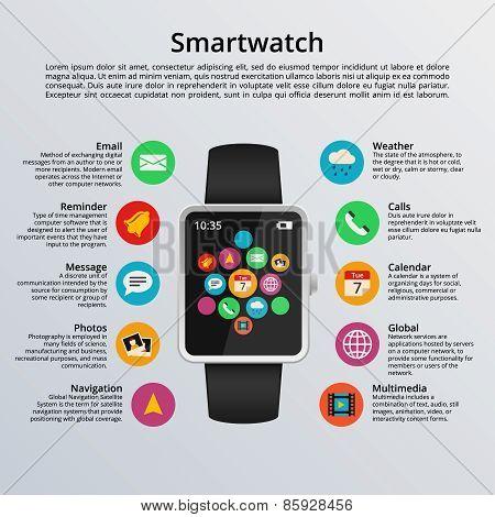 Smartwatch flat design