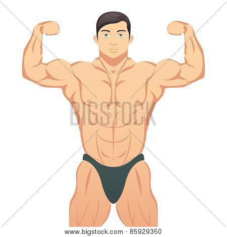 Bodybuilder showing muscles