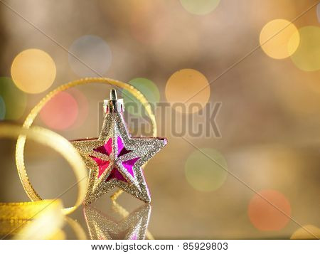 christmas ornament star with ribbon