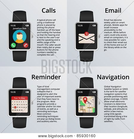 Smartwatch. Receiving calls and unread messages, navigation map, calendar