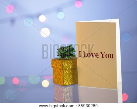 Valetine card with present