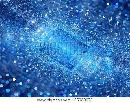 Blue Glowing Rectangle With Particles Depth Of Field