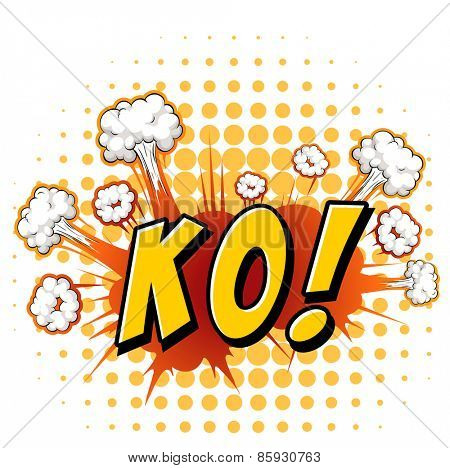 Word KO with cloud explosion background