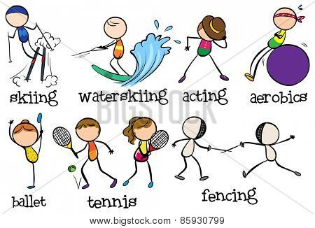 Doodles different types of sports