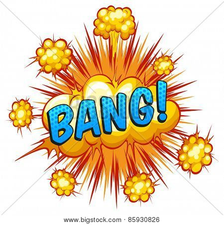 Word bang with cloud explosion background