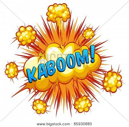 Word kaboom with explosion background