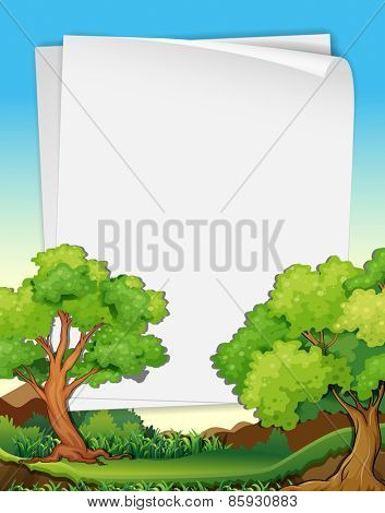 Blank papers and nature scene with trees and lawn