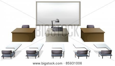 Empty classroom with desks and monitor