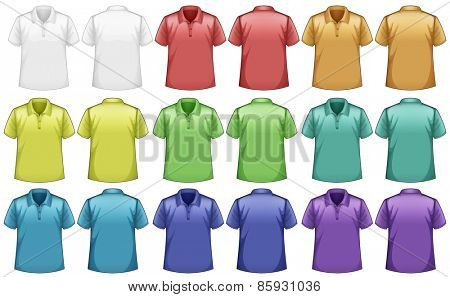 Different colors shirts with front and back view