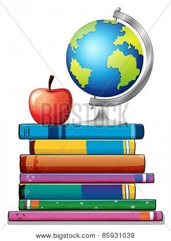 Stack of books with globe on top
