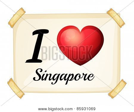 Poster I love Singapore on the wall