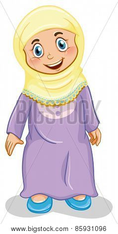 Close up muslim girl standing alone