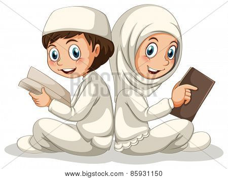 Two muslims reading books together