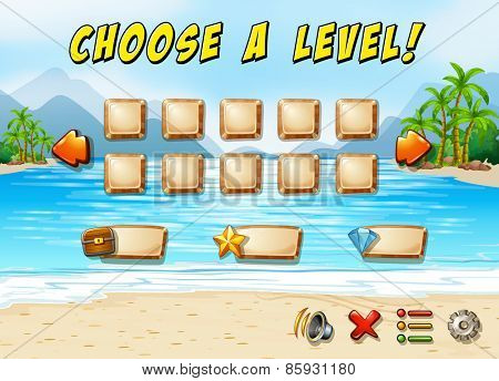 Game template with ocean and beach background