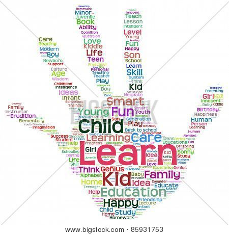 Concept or conceptual child education abstract hand print word cloud isolated on white background