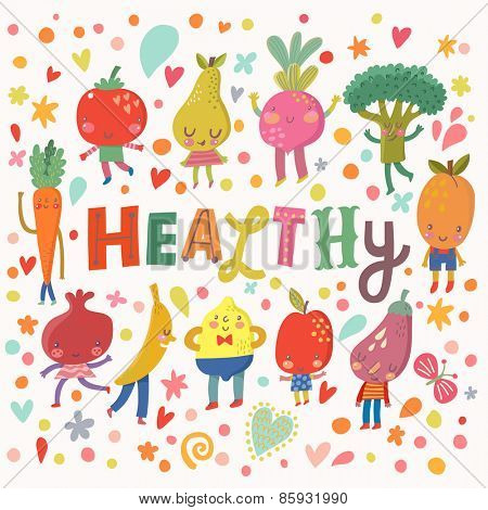 Lovely healthy concept card with sweet fruits and vegetables in vector. Tasty lemon, apple, eggplant, apricot, broccoli, beet, pear, tomato, carrot, pomegranate and banana in funny cartoon style