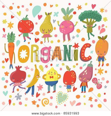 Sweet organic concept card with sweet fruits and vegetables in vector. Tasty lemon, apple, eggplant, apricot, broccoli, beet, pear, tomato, carrot, pomegranate and banana in funny cartoon style