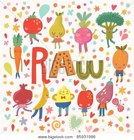 Lovely raw concept card with sweet fruits and vegetables in vector. Tasty lemon, apple, eggplant, apricot, broccoli, beet, pear, tomato, carrot, pomegranate and banana in funny cartoon style