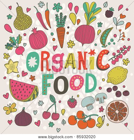 Lovely organic food concept card in vector. Sweet pear, cherry, pomegranate, watermelon, lemon, red currant, raspberry, fig, blueberry, carambola, beet, carrot, peas, mushrooms, chili and tomato