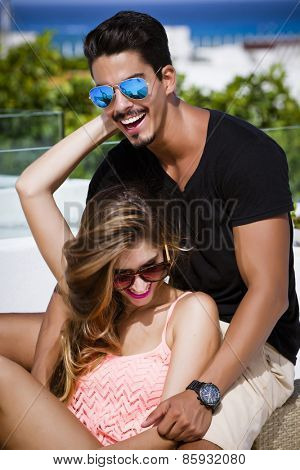 Young couple sharing happy moments in a summer day