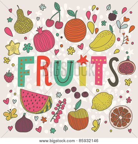 Lovely fruits and berries concept card in vector. Tasty pear, cherry, pomegranate, orange, mango, watermelon, lemon, apple, red currant, raspberry, fig, blueberry and carambola  in sweet cartoon style